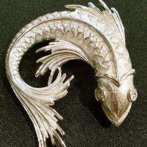 Monet Fish Koi Pin Brooch Silver Rhinestone